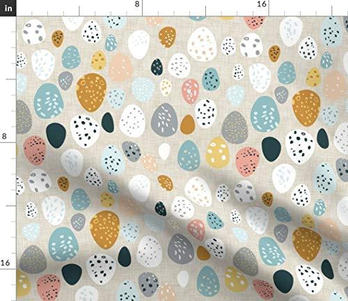 Ei, Leinen, Senf, Ostern Stoffe - Individuell Bedruckt von Spoonflower - Design von Nouveau Bohemian Gedruckt auf Leinen Baumwoll Canvas