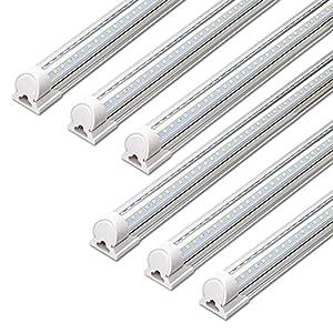 Barrina LED Shop Light, 40W 5000LM 5000K, 4FT Integrated Fixture, V Shape,T8 Light Tube, Daylight White, Clear Cover, Hight Output, Strip Lights Bulb for Garage Warehouse Workshop Basement (Pack of 6)