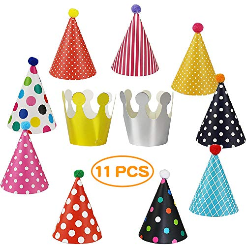 YASQZ Party Hats, 11pcs Birthday Party Cone Hats With Pom Poms ( 9 Hats And 2 Crowns),Kid And Adults Paper Crown Hats/Colorful Cake Cone Hat,Boys And Girls Holiday Decoration Celebration Mini Hats