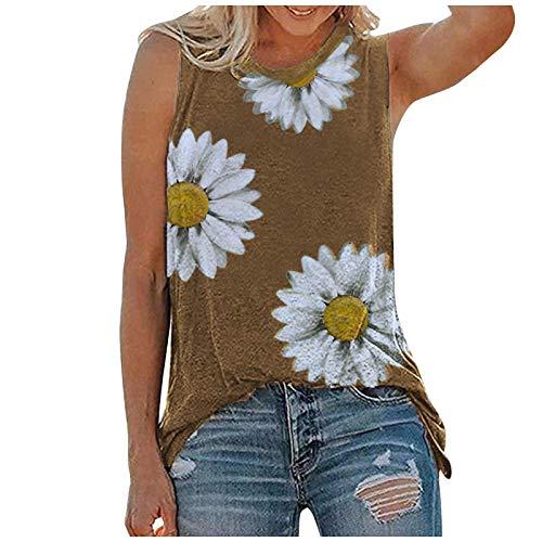 Kpasati Loose Damen T-Shirt Ärmellose Mode Weste Chrysanthemen Print Fresh Casual Style Elegant Custom Oversized Top