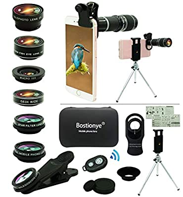 Cell Phone Camera Lens Kit,11 in 1 Universal 20x Zoom Telephoto Lens,0.63Wide Angle+15X Macro+198?Fisheye+2X Telephoto+Kaleidoscope+CPL/Starlight/Eyemask/Tripod/Remote,for Most Smartphone