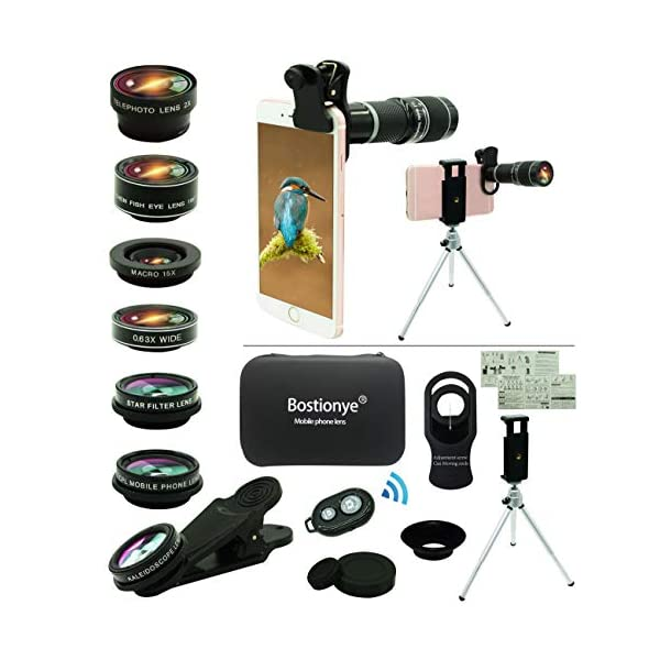 Cell Phone Camera Lens Kit,11 in 1 Universal 20x Zoom Telephoto Lens,0.63Wide Angle+15X Macro+198°Fisheye+2X Telephoto+Kaleidoscope+CPL/Starlight/Eyemask/Tripod/Remote,for Most Smartphone