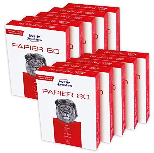 AVERY Zweckform 2575 Druckerpapier, Kopierpapier (5.000 Blatt, 80 g/m², DIN A4 Papier, weiß, für alle Drucker) 2 Boxen mit je 5 Pack