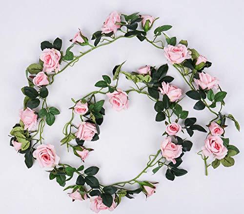 Smilecstar Kunstplanten, kunstbloemen, namaakbloem, roze, kunstbloemen, wijnstok, decoratieve wijnstok, indoor-airconditioning, buis, plafond, wrap, muurbehang, bloem, wijnstok, lengte 180 cm, 24 bloemen, roze