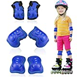 Rodilleras para niños,Juego de Protecciones Infantil, 6 en 1 de Rodilleras para Protectores Rodilleras Codos Muñecas, Adecuado para Monopatín, Skate, Patines, Patinaje, Scooter, Bicicleta (Azul)