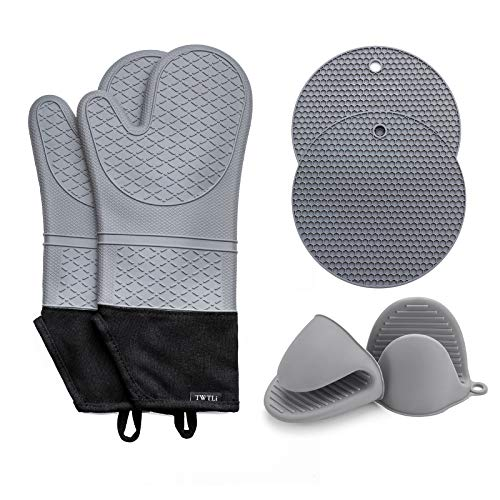 TWTLi 14.7inches Oven Mitts and Pot Holders Sets,6Piece Set,500°F Heat Resistant Kitchen Baking Cooking Silicone Oven Mitts,Exstra Long 6Pcs Pot Holders and Oven Mitts Sets Gray