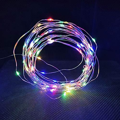 ZYHYCH Cadena de luz de alambre de cobre con LED plateado decorativa, luces de hadas AA con pilas 1M 10 2M 20 3M 30 5M 50 10M 100 Leds, Multicolor, 2m 20Led