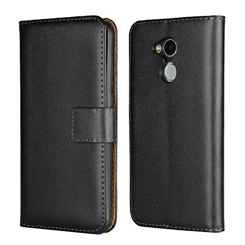 Copmob Huawei Honor 6A Pro Hülle,Klassisch Flip Brieftasche Ledertasche Handyhülle,[Multi-Kartenslot][Standfunktion][Magnetverschluss],Schutzhülle für Huawei Honor 6A Pro - Schwarz