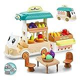 Torosin Juguetes de cocina, accesorios de cocina, utensilios de cocina para niños, carrito de frutas, juguete educativo, juguete de rol para niños de 2 a 3 años para niñas y niños