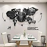 ZGDXF Reloj de pared creativo con diseño de mapamundi, estilo moderno, reloj de pared, para salón, dormitorio, creativo, moderno, reloj de pared, color negro, 120 × 65