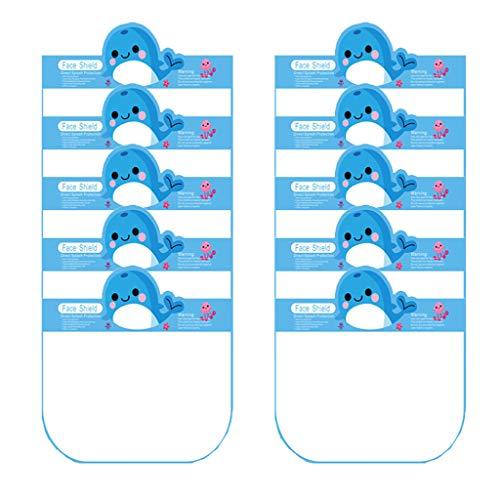 Kviklo Kids - Tapa protectora para el rostro de la cocina, antihumo, antihumo, diseño de dibujos animados Azul Ballena azul-10 unidades. 80