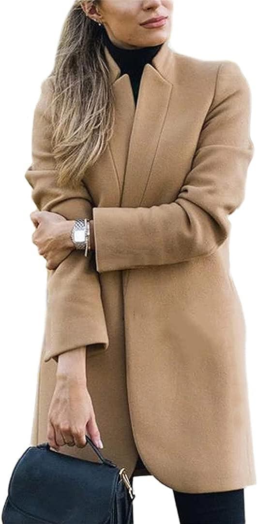 O-neMakpa Women Wools Solid Color Coats Full Sleeve Mandarin Collar Open Stitch Long Formal Outerwear Khaki XXL
