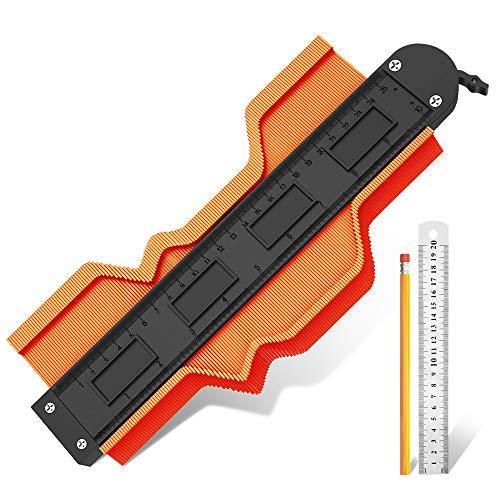 Contour Gauge With Lock, 10 Inch Contour Gauge Duplicator, Scribe Tool, Profile Gauge Master Outline Gauge, Exact Cut Tool DIT Tool To Measure (1, 10 Inch)