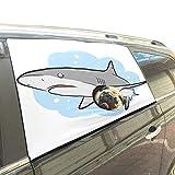 Reopx Malvado tiburón Mar Océano Animal Submarino Plegable Mascotas Perro Seguridad Coche Impreso Ventana Valla Cortina Barreras Protector para bebé niño Ajustable Sombrilla Cubierta Ajuste para SUV