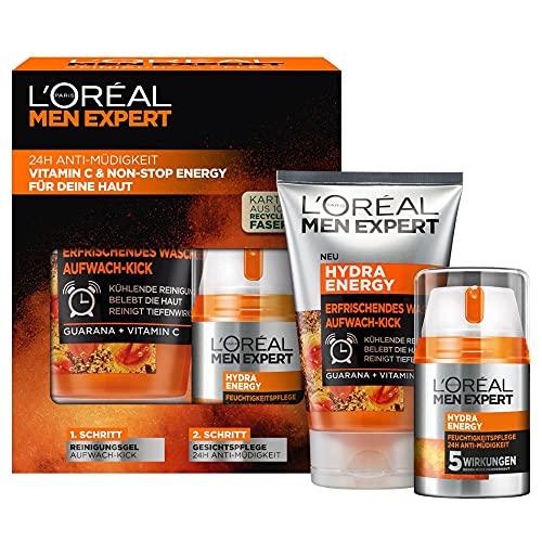 L\'Oréal Men Expert Geschenkset für Männer, Mit Waschgel und 24h Feuchtigkeitspflege, Mit Guarana und Vitamin C, Hydra Energy Pflegeset, 1 x 150 ml