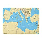 Funny Z Región Tierras Mar Mediterráneo Sur de Europa Norte de África y Oriente Próximo Capitales Alfombra Rectangular Alfombra de Entrada Alfombra Antideslizante para Cocina Baño 15.7×23.5 Pulgadas