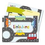 Papierdrachen 12 Einladungskarten zum Kindergeburtstag für Jungen - Motiv Autos - Geburtstagseinladungen für Deine Geburtstagsparty (DIN A6 mit abgerundeten Ecken)
