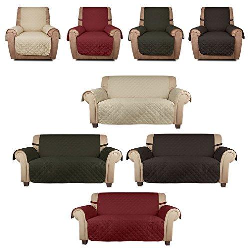 Haus-deko Mart HDM soft touch 1 Posti 177x56 cm copridivano beige con fascia fissa, borsa da divano molto adatta per bambini e animali domestici, coprisella in cotone 100% PP