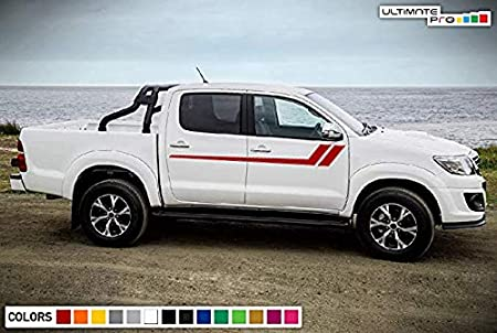 Bubbles Designs Decal Sticker Graphic Lower Mountain Stripe Kit Compatible with Toyota Hilux 2004-2017 Black