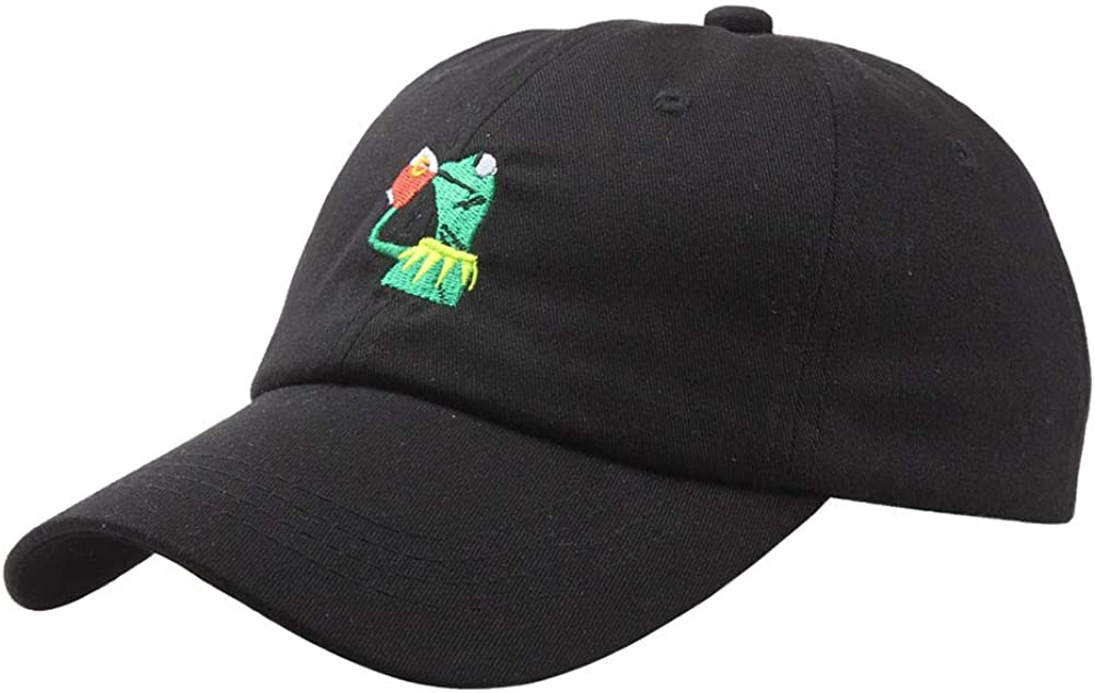 Amazingxy Kermit Cap Baseball Cap Dad The Frog Sipping Sips Drinking Tea Embroidered Cotton Snapback Adjustable Unisex