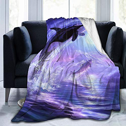 JHVL4 FlannelFleeceBedBlanketsLightweightCozyThrowBlanket,A Killer Whale Jumping Out of The Sea Against The Backdrop of A Dreamy Purple Star Moon Mountains and River,50'X 40'
