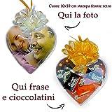 PieffeLine Cuore Personalizzato con Foto cioccolatini Frase Idea Regalo per la Festa del papà