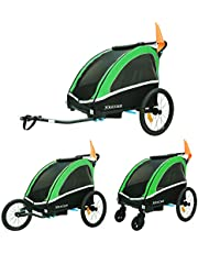 TIGGO World Aluminio Remolque de Bici para niños Remolque de Bici Remolque de bicileta 702-D02 Verde