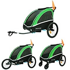 Kinderfietstrailer Aluminium Fietstrailer Jogger 2in1 Hanger Kids Trailer 702-D02 GREEN*