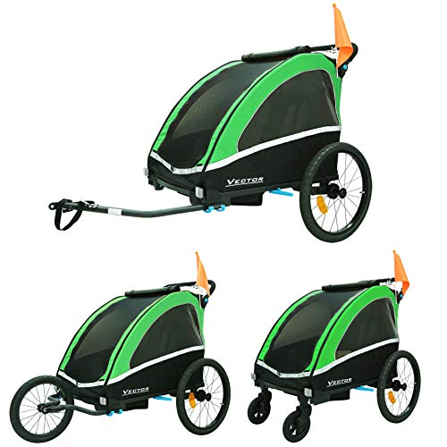Tiggo Aluminium Remorque à Vélo Jogger 2 en 1, pour Enfants + Amortisseur 702-D02 Vert