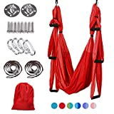 MelkTemn Aerial Yoga Swing Set,Yoga Trapeze Swing,Aerial Yoga Hammock Trapeze,Ultra Strong Antigravity Yoga Hammock/Sling/Inversion Tool, Aerial Pilates Silk Yoga Swing Set