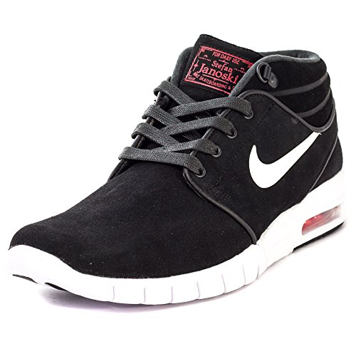 Nike Stefan Janoski Max Mid L, Chaussures de Skate Homme, Noir/Blanc/Rouge (Noir/Blanc-Rouge université), 38.5