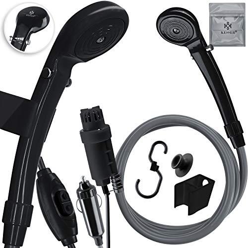 KESSER® Campingdusche mit Tauchpumpe Handbrause 12 V KFZ-Adapter, für Camping...