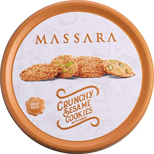 MASSARA Crunchy Sesame Cookies with Honey in der Metalldose - Barazek Sesamkekse mit Honig-Pistazien Cookies (400 GR)