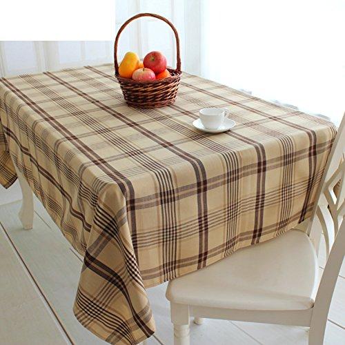 nclcxn Vichy Grand Carré Rond Linge de Table,Décoration [Table à Manger] Nappe Facile à Nettoyer Lavable en Machine Nappes Partie de la réunion-Khaki diamètre260cm(102inch)