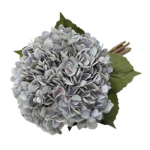 Tifuly Artificial Hydrangea Flower, 5 PCS Ramos de hortensias de Seda de Tallo Largo para Bodas, hogar, Hotel, decoración de Fiestas, centros de Mesa (Azul Vintage)