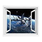 宇宙空間の装飾 偽窓ステッカー ウォールステッカー PVC壁紙シール 90x60 cm スペースシャトル はがせるシール式 -窓の景色- 窓仕様 トリックアート ステーションビューコスモノートアドベンチャーオンザミストグローブオービットオフ