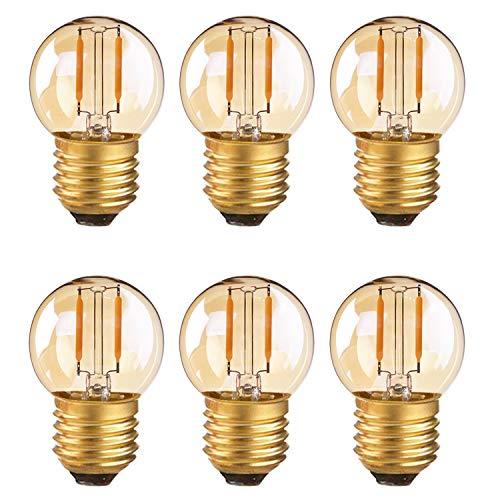 Lampadina a filamento LED G40 mini globo lampadina 1W bianco ultra caldo 2200K (bagliore ambra) AC/DC 12-24V 10W equivalente di ricambio lampadine a candelabro E27 non dimmerabili 6Pack