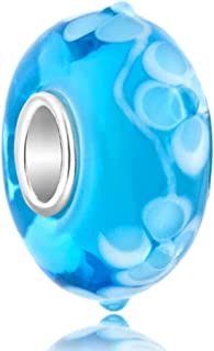 ReisJewelry 925 Sterling Silver Core Flower Lampwork Murano Glass Beads Spacer Charm for Bracelets