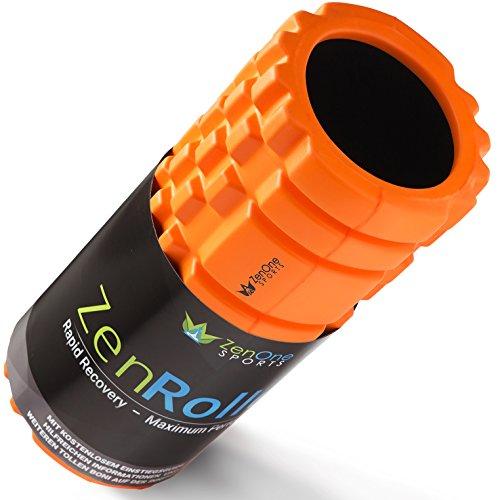 ZenRoller Rodillo de Espuma para los Puntos Gatillo, Rodillo de Masaje para la Tensión Muscular, promueve la Circulación Sanguínea y la Regeneración Muscular, Incl. ebook y Ejercicios (Naranja)