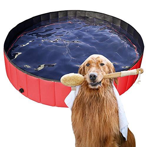 Yaheetech Hundepool, Swimmingpool, Planschbecken, Hundebadewanne, Faltbarer Pool, Badewanne Wasserbecken für Hunde 160 x 30 cm