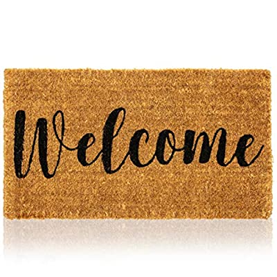 Juvale Natural Coir Doormat, Welcome Mats for Front Door (30 x 17 in)