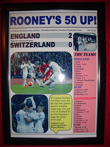 England 2 Schweiz 0-Wayne Rooney Tor - 2015, zum 50. Geburtstag, gerahmt