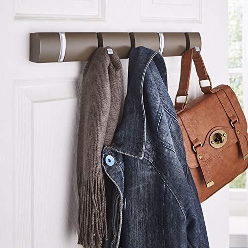Direct Online Houseware - Appendiabiti da appendere alla porta, in legno, montaggio a parete 5 ganci a scomparsa per espresso