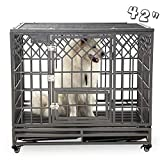 SMONTER Heavy Duty Dog Cage for Large Dog Strong Metal Kennel and Crate Pet Playpen with Three Doors, Four Wheels,42 Inch,Y Shape,Silver … … …