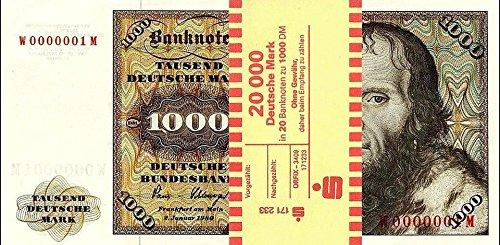 *** 20 x 1000 DM, Deutsche Mark, Geldscheine 1980, mit Banderole - Reproduktion ***