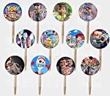 Party Over Here Toy Story 4 Movie Picks Double-Sided Images Cake Topper -12, Forky Duke Caboom Bunny Ducky Woody Buzz Lightyear Bonnie Bo Peep