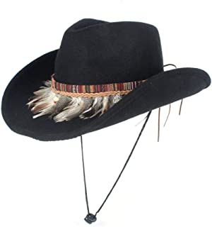 TX GIRL Wool Felt Western Cowboy Hat Men Women with Feather Wide Brim Hat Outdoor Casual Hat Size 56-58CM Novelty Party Costumes (Color : Black, Size : 56-58)