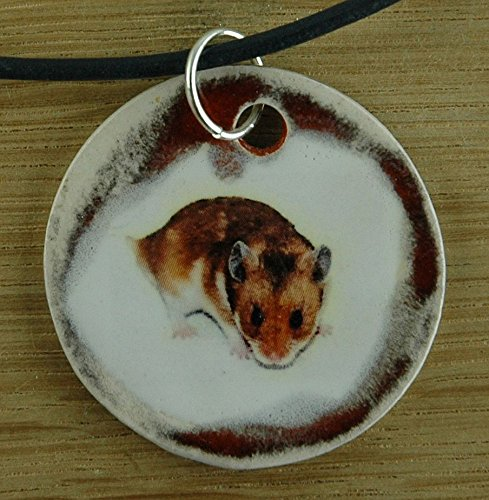 Echtes Kunsthandwerk: Toller Keramik Anhänger Hamster; Maus, Haustier, Nager, Nagetier