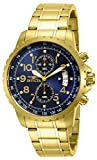 Invicta Men's 13785 Specialty Chronograph Dark Blue Dial 18k Gold Ion-Plated Stainless Steel Watch