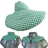 Nackenhörnchen mit Stehkragen grün-weiß, Leinsamenkissen. Nackenkissen Wärmekissen - Ein sehr...